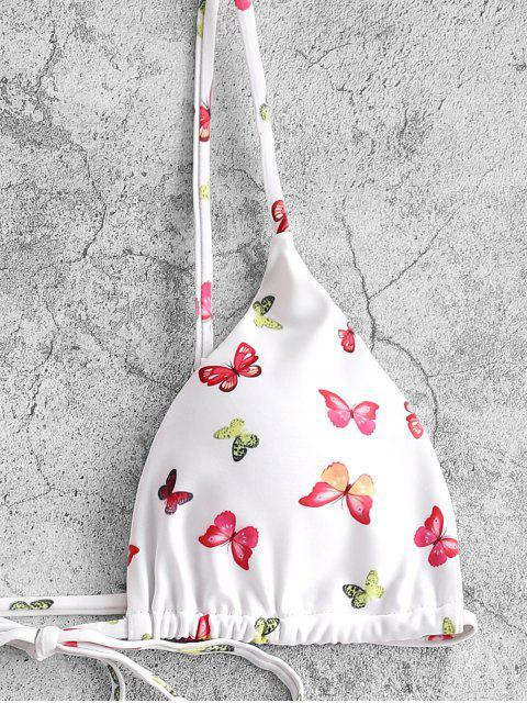 women ZAFUL Butterfly Print Tie String Bikini Swimwear - WHITE S Mobile