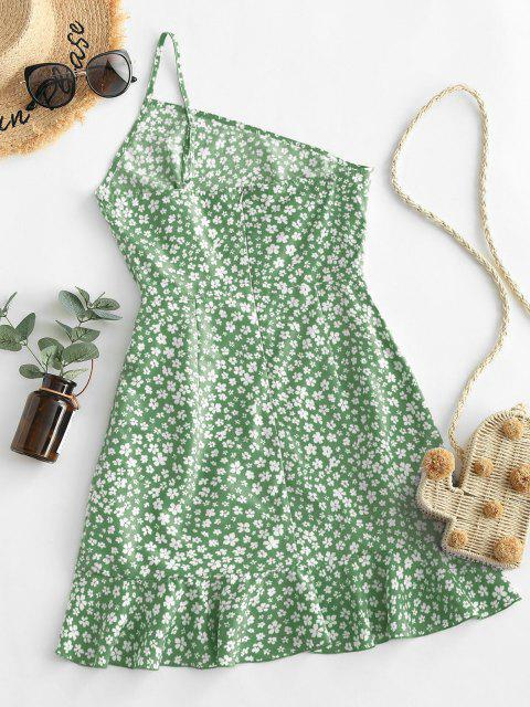 buy ZAFUL Ditsy Print One Shoulder Overlap Flounce Hem Dress - DARK SEA GREEN M Mobile