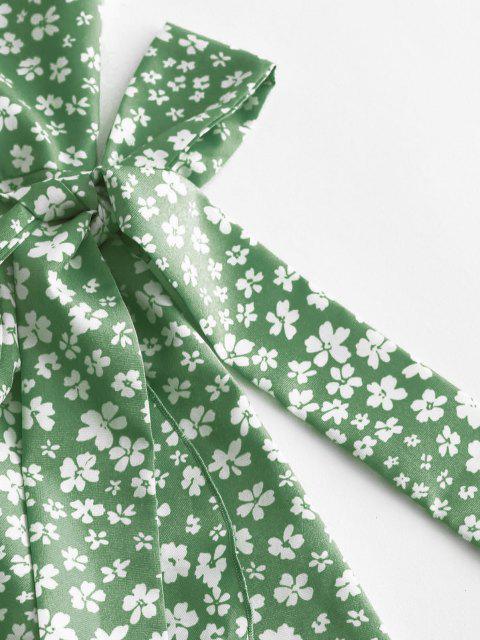 Vestito a Fiorellini con Increspature e Monospalla di ZAFUL - Verde del Mare Nero XL Mobile