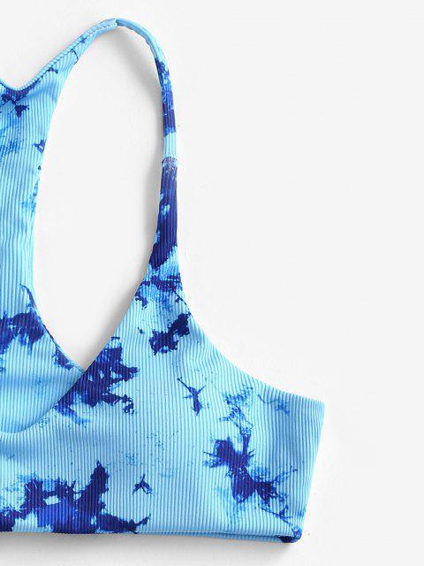fashion ZAFUL Tie Dye Ribbed Racerback Bikini Swimwear - BLUE M Mobile