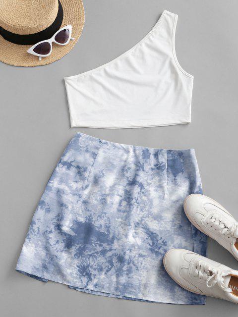 online ZAFUL One Shoulder Tie Dye Slit Two Piece Dress - LIGHT BLUE L Mobile