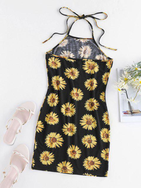 latest ZAFUL Flower Print Halter Backless Bodycon Dress - BLACK M Mobile