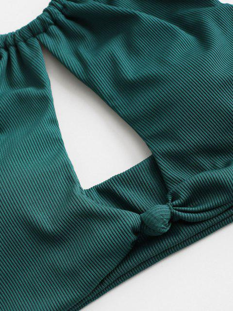 ZAFUL Bikinibadebekleidung mit Geripptem Knotenausschnitt und Hohem Bein - Blaugrün S Mobile