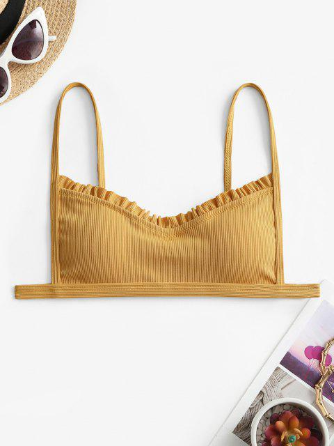 sale ZAFUL Ribbed Frilled Trim Bikini Top - YELLOW S Mobile