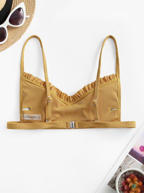 buy ZAFUL Ribbed Frilled Trim Bikini Top - YELLOW L Mobile