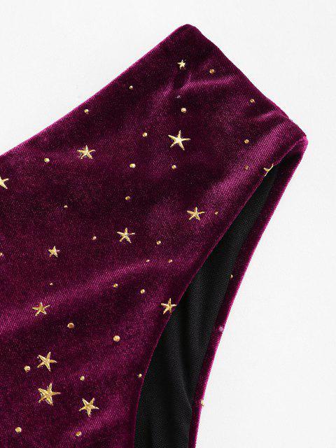 sale ZAFUL Velvet Glitter Starry High Cut Bikini Bottom - DEEP RED L Mobile