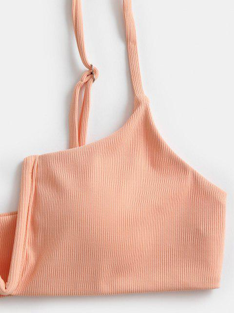 unique ZAFUL Ribbed V-wired Bikini Top - LIGHT ORANGE S Mobile