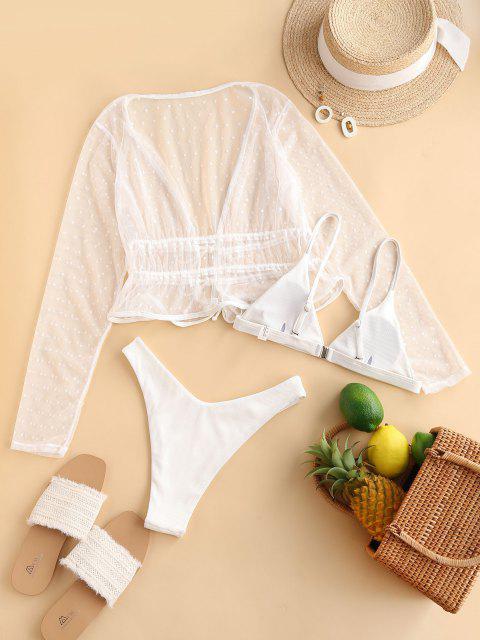 new ZAFUL Ribbed High Leg Dotted Lace Three Piece Bikini Swimwear - WHITE M Mobile