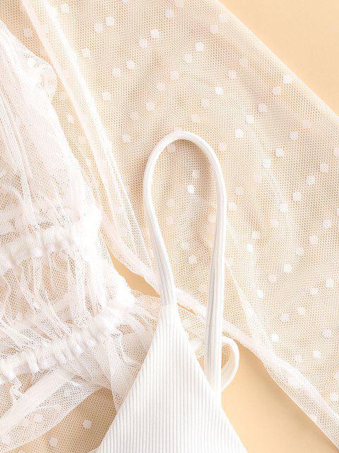 ZAFUL Gerippter Bikini Badebekleidung mit Hohem Bein und Spitze - Weiß M Mobile