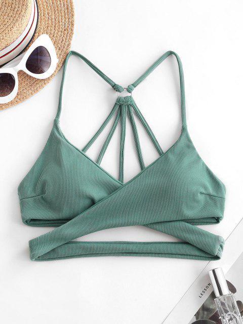 ZAFUL Ribbed Strappy Criss Cross Bikini Top - سلحفاة البحر الخضراء S Mobile