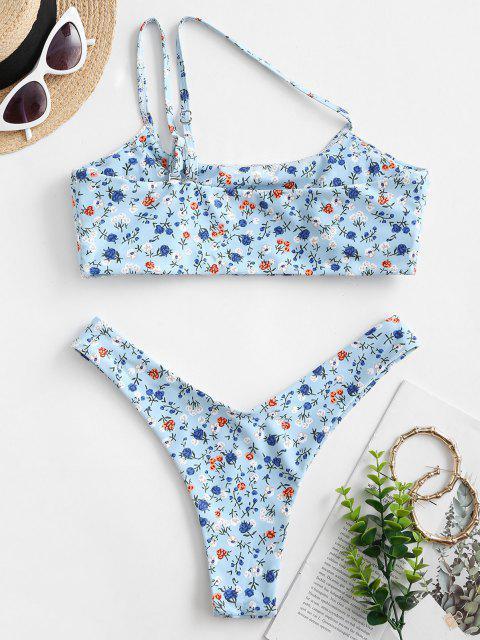 ZAFUL Einziger Schulter Ditsydruck Bikini Badebekleidung mit Hohem Bein - Hellblau S Mobile