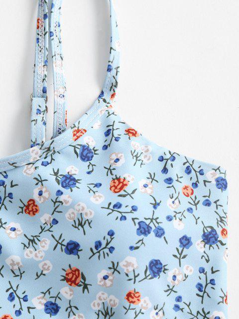 hot ZAFUL One Shoulder Ditsy Print High Leg Bikini Swimwear - LIGHT BLUE M Mobile