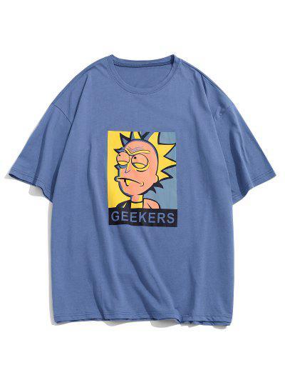 Personaje De Dibujos Animados De Estampado Camiseta Básica - Azul M