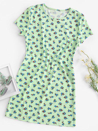 Ribbed Ditsy Floral T-shirt Dress - Green L