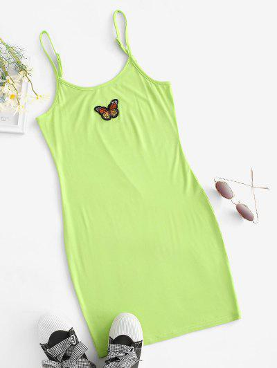 Butterfly Patched Y2K Bodycon Cami Dress - Green M