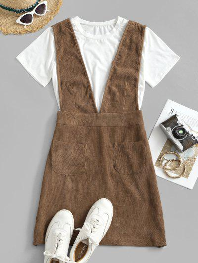 Dual Pocket Corduroy Casual Overalls Dress - Coffee S