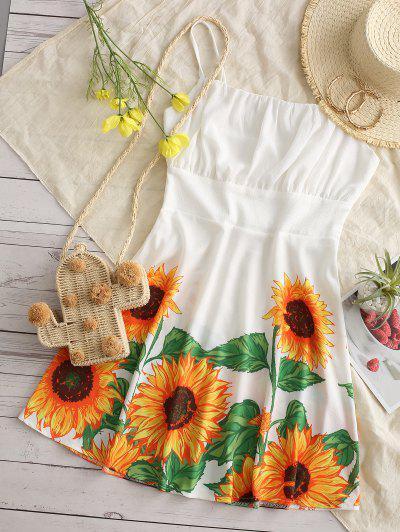 Cami Ruched Sunflower Mini Dress - White M