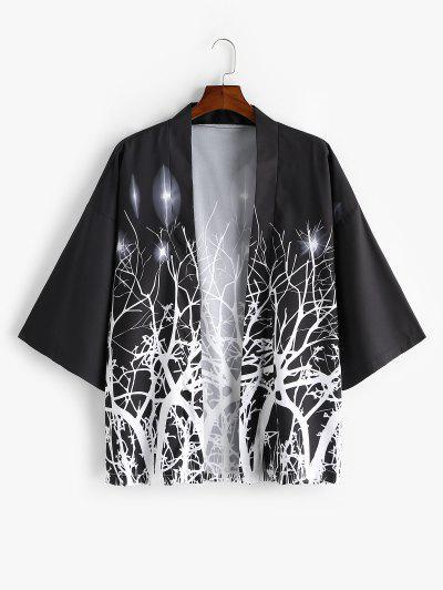 Tree Branch Print Open Front Kimono Cardigan - Black 2xl