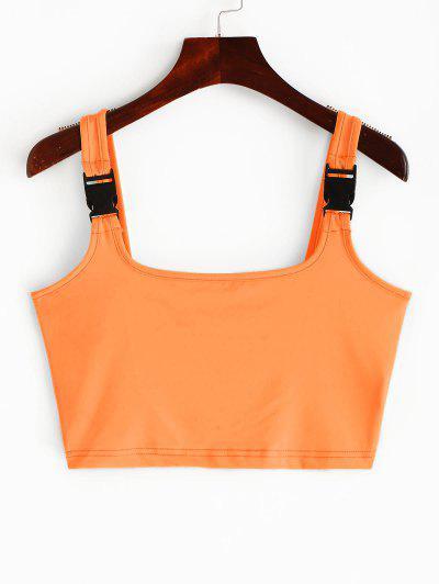 Buckle Straps Neon Crop Tank Top - Orange L