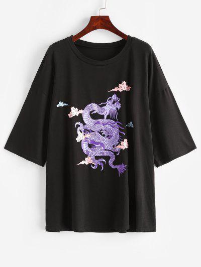 T-shirt De Dragão Oriental Impressão De Dragão - Preto M