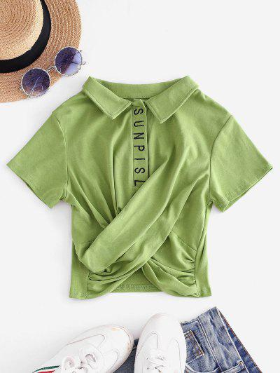 Embroidered Twist Front Cropped Top - Light Green Xl