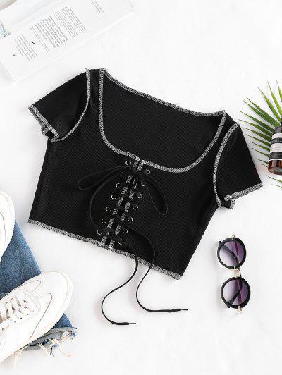 Lace Up Stitching Ribbed Crop T Shirt - Black M