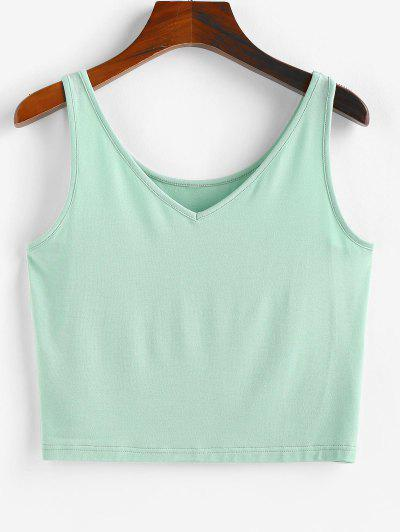 ZAFUL Heather V Neck Crop Tank Top - Cyan Opaque M