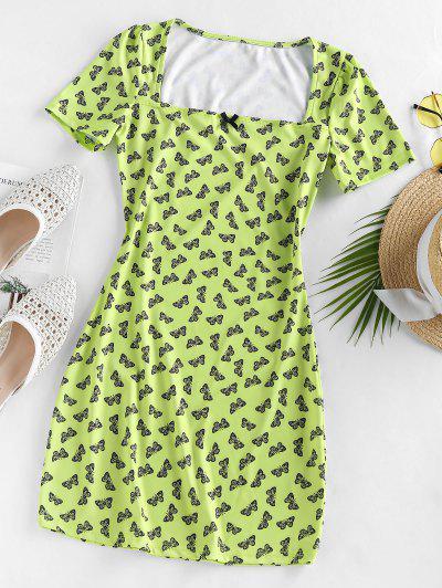 Butterfly Print Square Neck Mini Dress - Light Green L