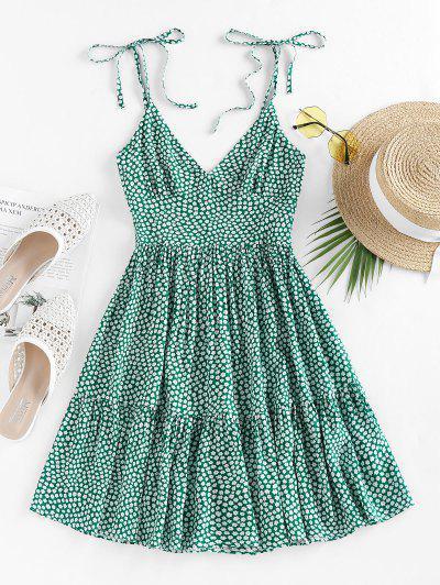 ZAFUL Tie Shoulder Ditsy Print Dress - Sea Green M