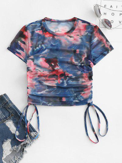 Tie Dye Side Cinched Y2K Mesh Top - Blue L