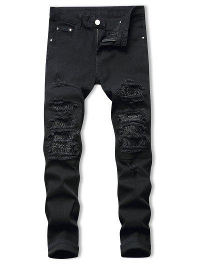 Drape Panel Patchwork Long Ripped Jeans - Black 42