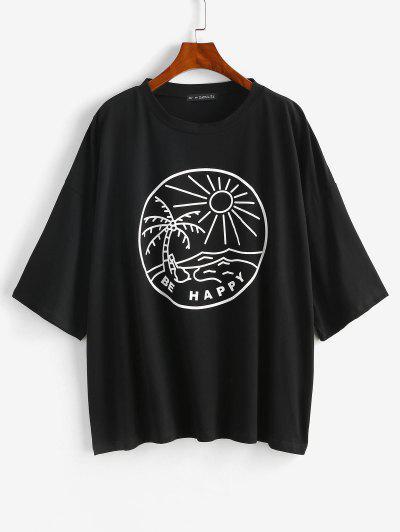 Camiseta Tipo Túnica Hombro Caído Diseño Árbol De Coco - Negro S