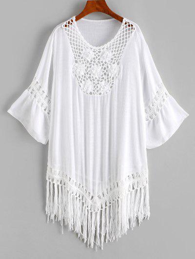 Flower Crochet Insert Fringed Cover-up Dress - White