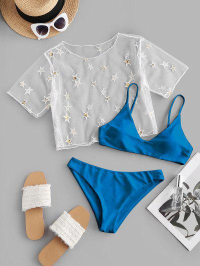 ZAFUL Sequined Star Mesh Low Waisted Three Pieces Bikini Swimwear - Blue S