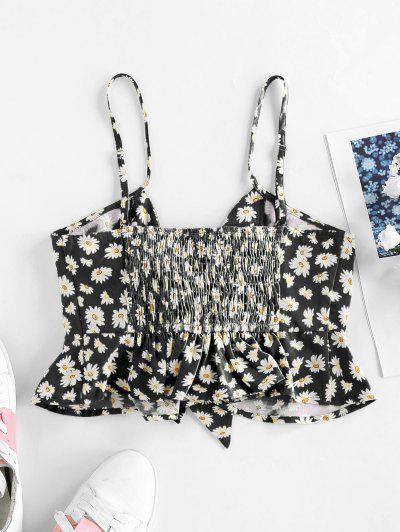 ZAFUL Daisy Print Shirred Tied Peplum Crop Cami Top, Black