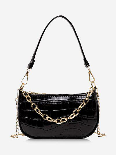 Chain Textured Shoulder Bag - Black