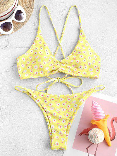 ZAFUL Ditsy Print Ruched Bikini Swimwear - Yellow M