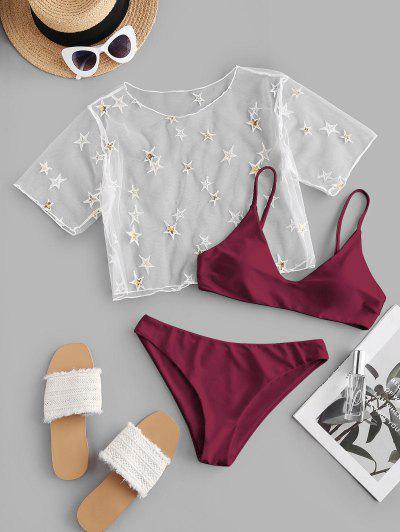 ZAFUL Sequined Stern Maschen Bikini Badebekleidung Mit Niedriger Taille - Tiefrot M