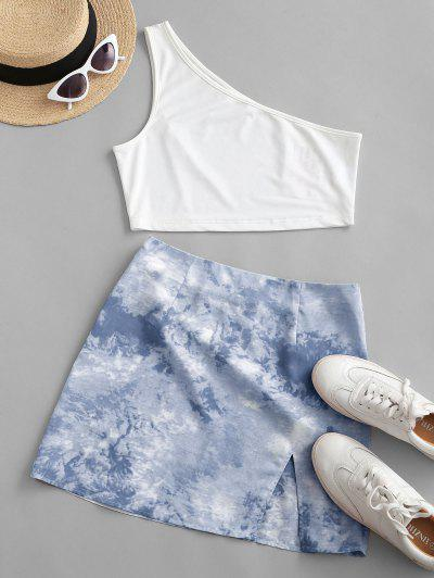 ZAFUL One Shoulder Tie Dye Slit Two Piece Dress - Light Blue S