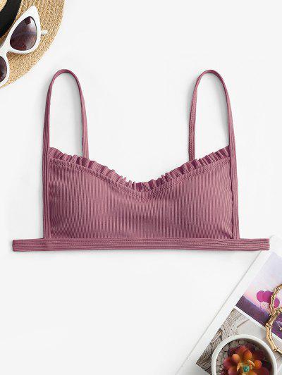 ZAFUL Ribbed Frilled Trim Bikini Top - Light Pink S