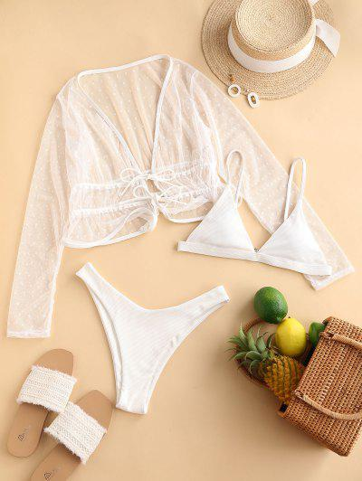 ZAFUL Ribbed High Leg Dotted Lace Three Piece Bikini Swimwear - White M