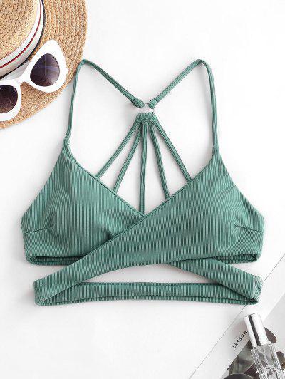 ZAFUL Ribbed Strappy Criss Cross Bikini Top - Sea Turtle Green M