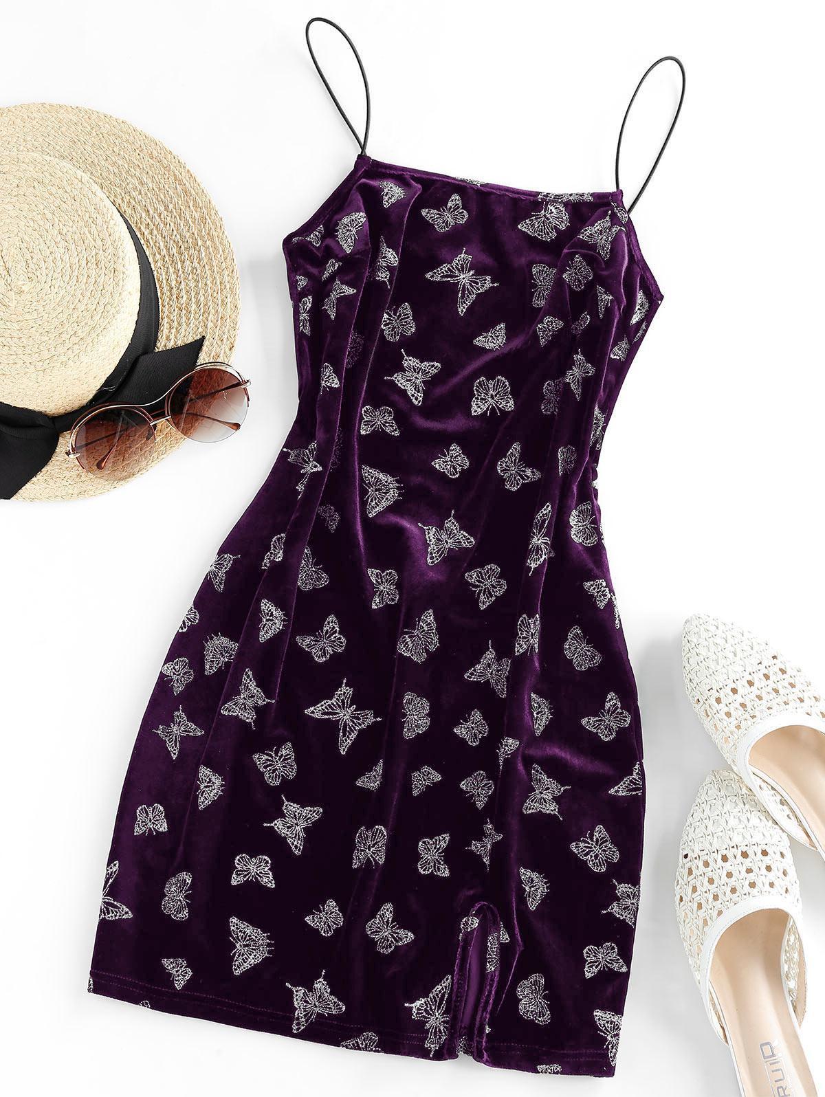 ZAFUL Metallic Butterfly Slit Velvet Cami Dress