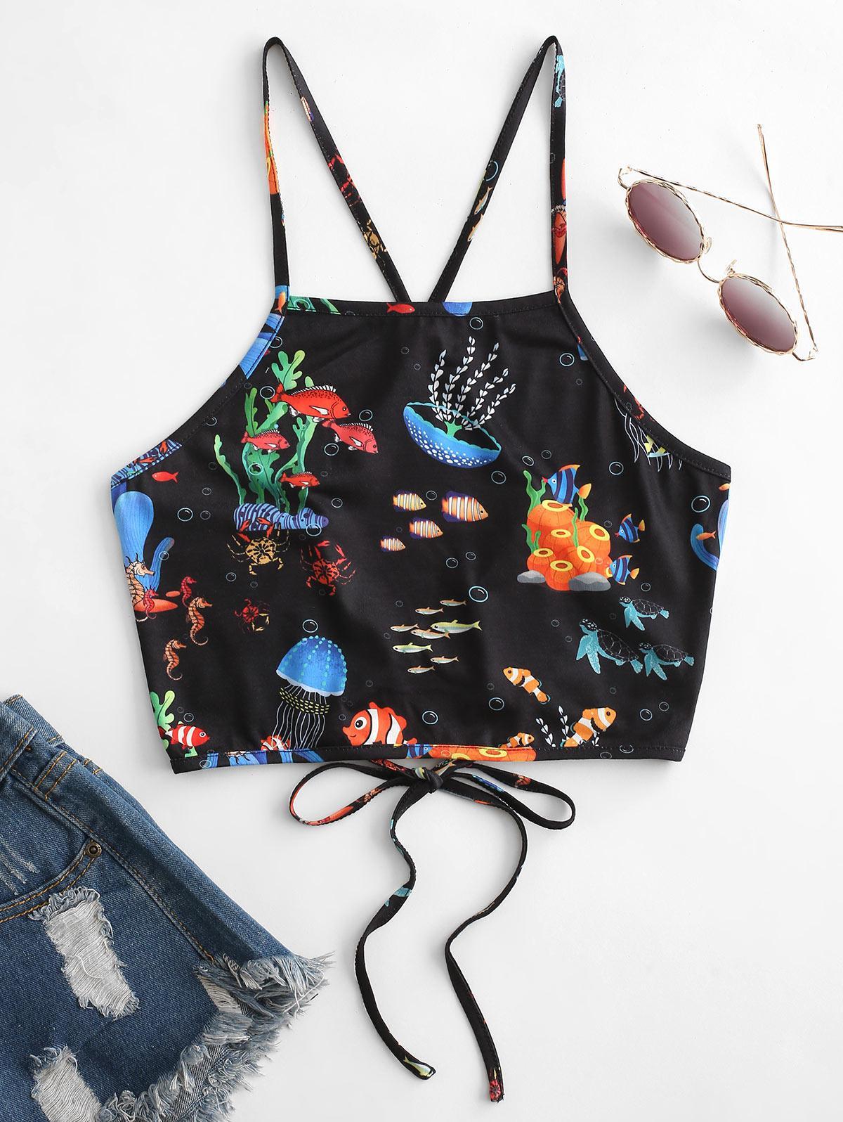 ZAFUL Marine Life Lace Up Crop Camisole