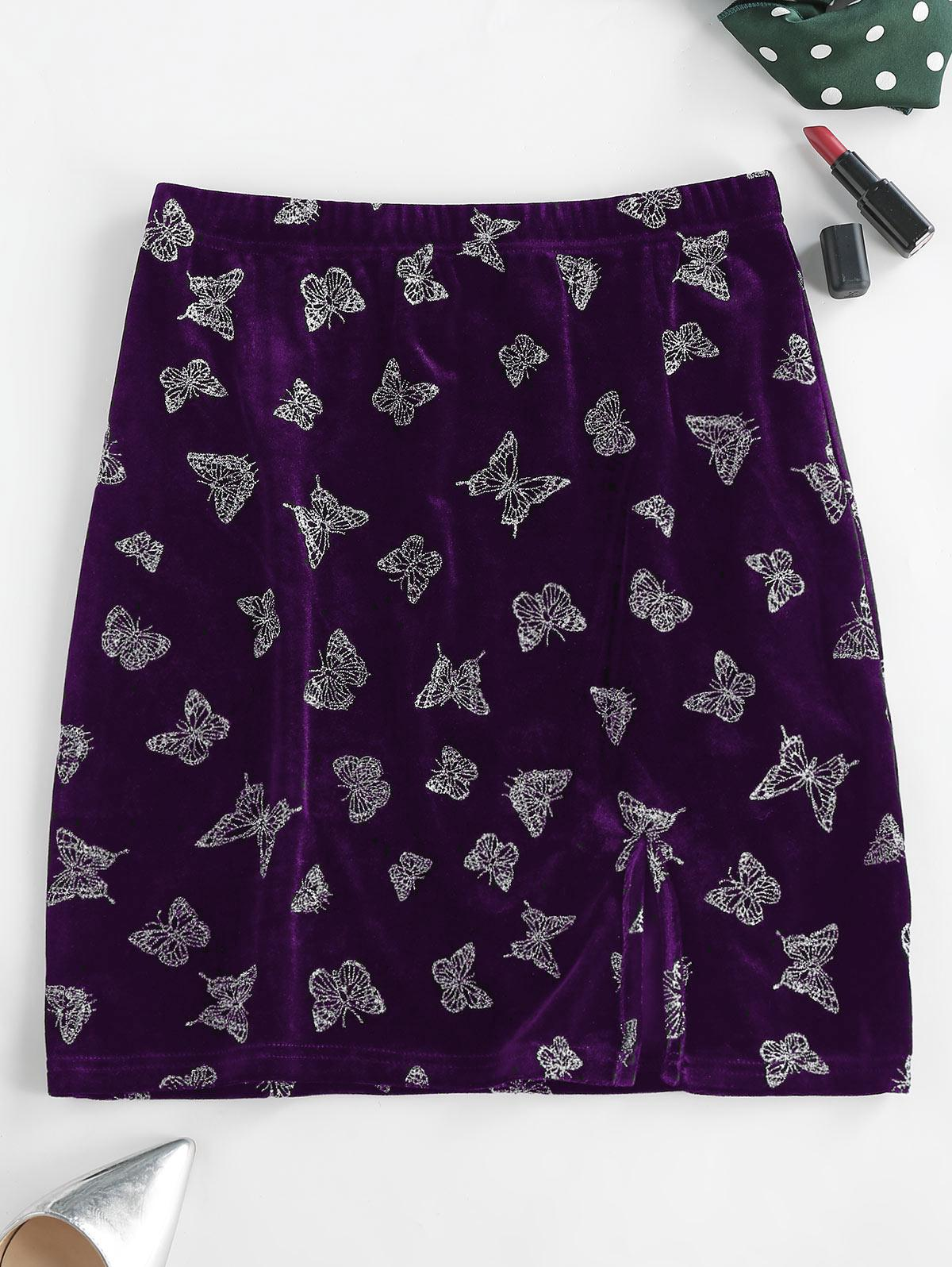 ZAFUL Glitter Butterfly Velvet Skirt
