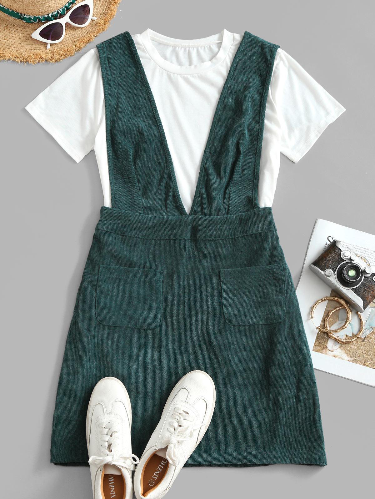 Dual Pocket Corduroy Casual Overalls Dress