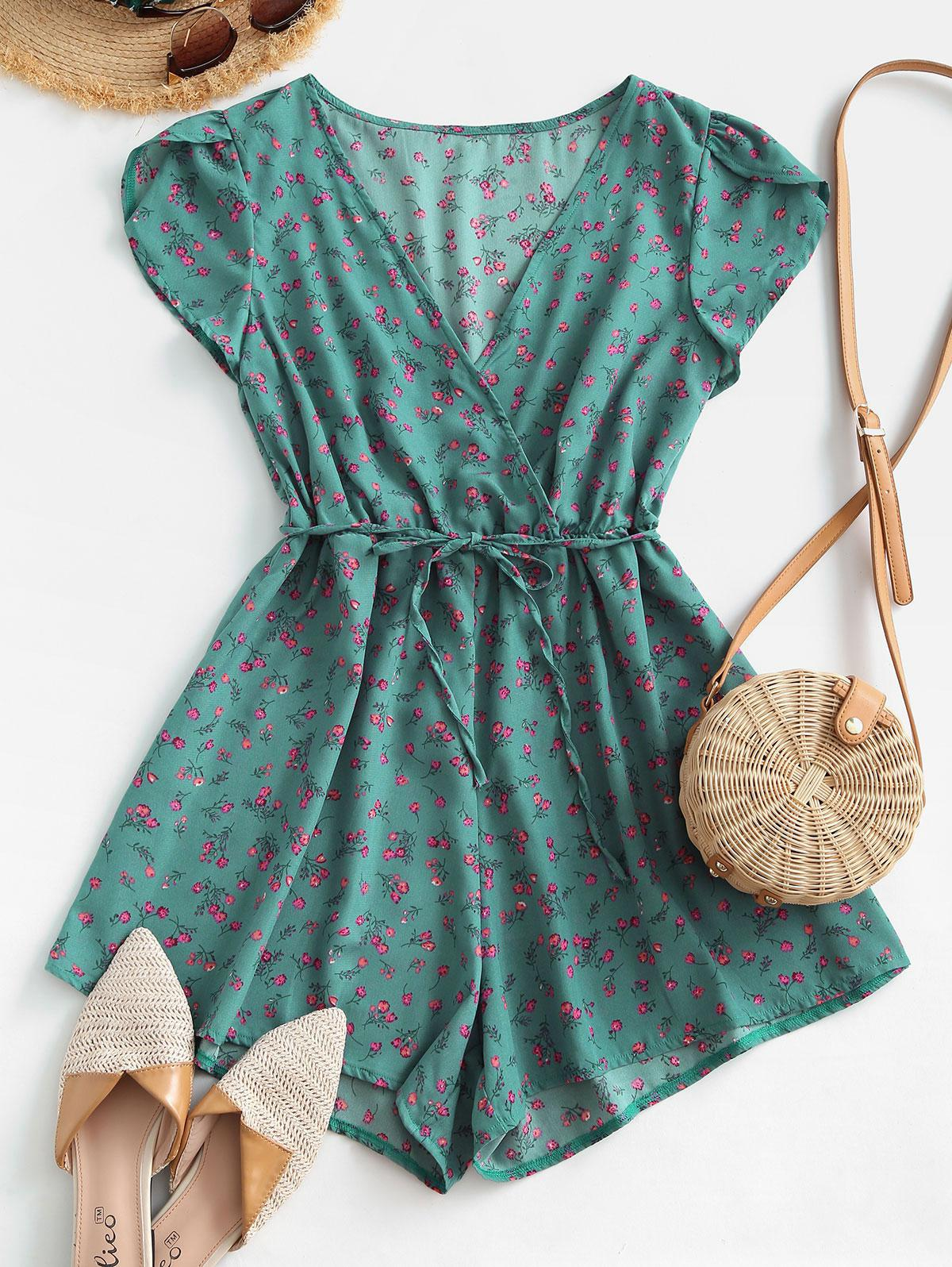 Tulip Sleeve Belted Ditsy Floral Romper