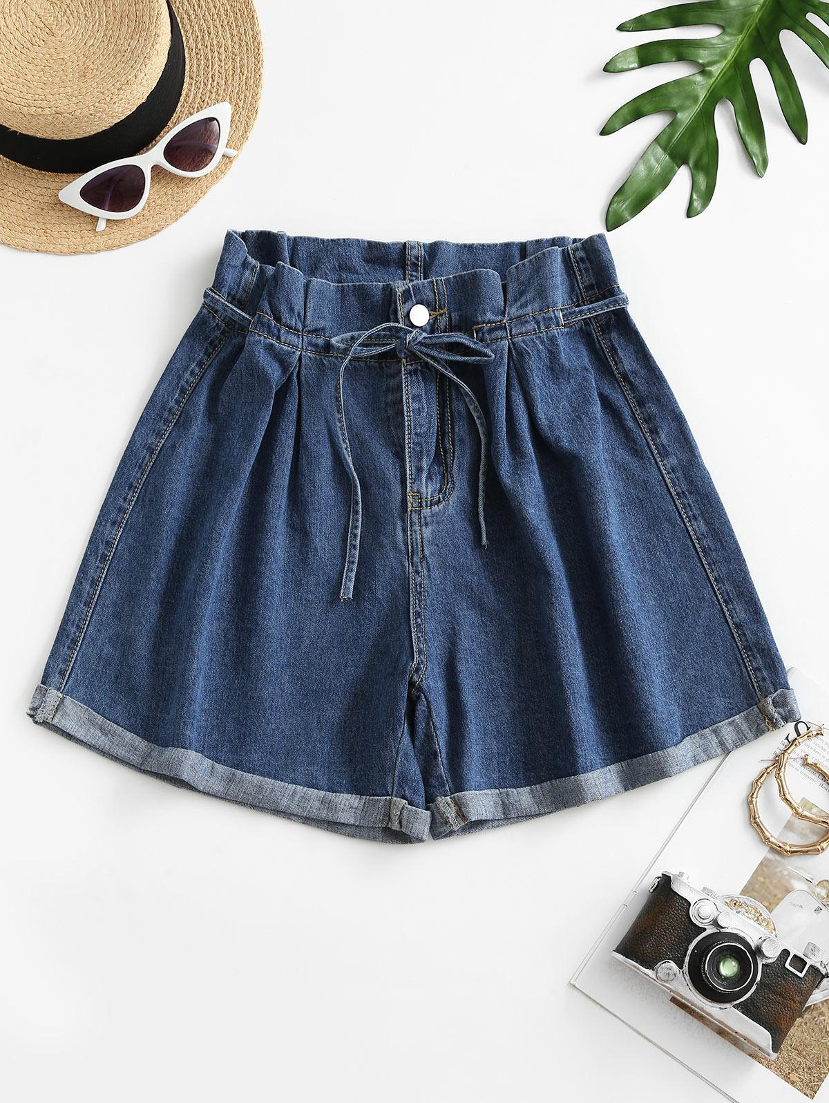 Denim Cuffed Hem Paperbag Shorts