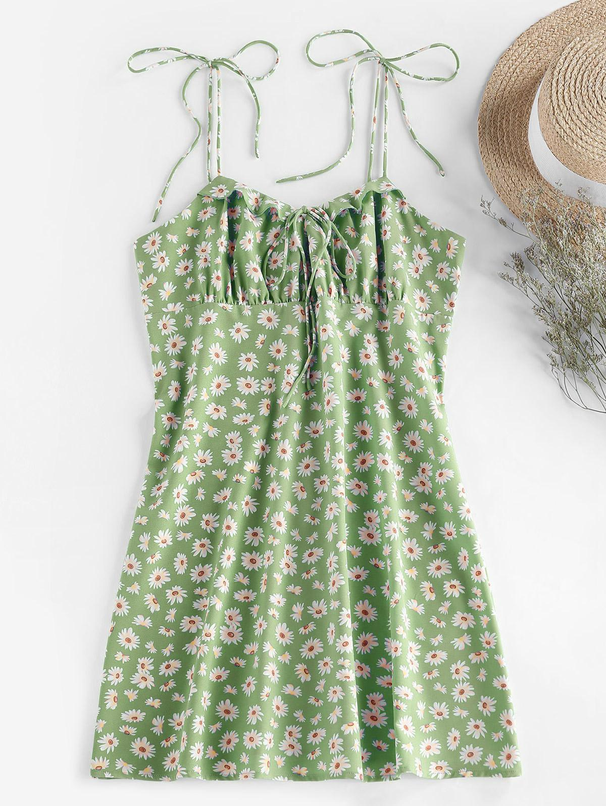 ZAFUL Daisy Print Tie Shoulder Ruffle Mini Dress