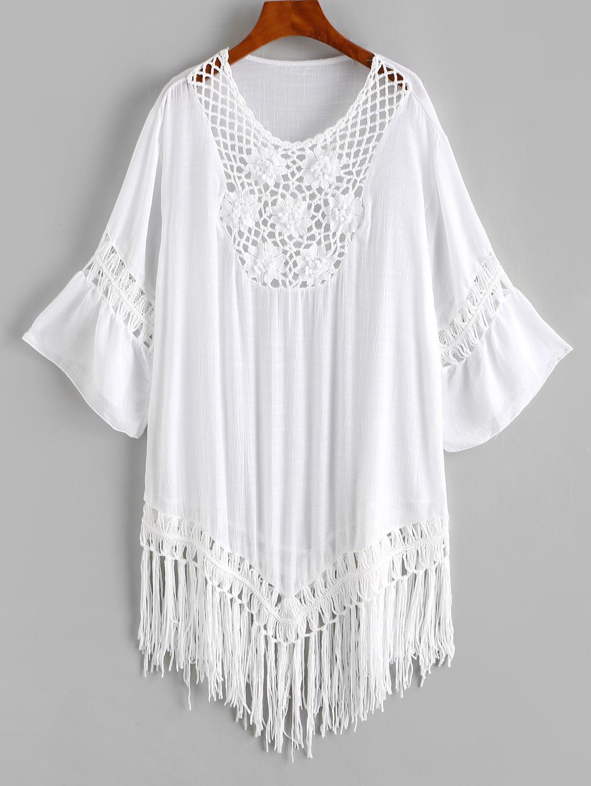 Flower Crochet Insert Fringed Cover-up Dress